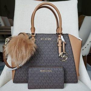 Michael Kors Ciara Bag + Wallet + Pom brown Bundle